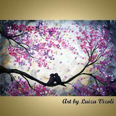 moonlight paintings art | Art: CHERRY BLOSSOM MOONLIGHT by Artist LUIZA VIZOLI