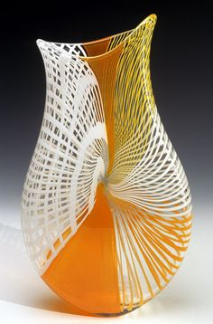 Seasons Pouch: Anthony Gelpi: Art Glass Sculpture - Artful Home. Interesting form, and use of cane? Is it a full vase, or does the center dip inside?