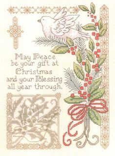 Imaginating Gift Of Christmas - Cross Stitch Pattern. May peace be your gift at Christmas, and your blessing all year through. Model stitched on 14ct. Natural A