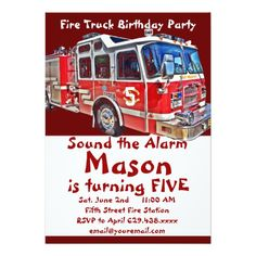 444 Best Fire Truck Birthday Party Invitations Images In 2019 Fire