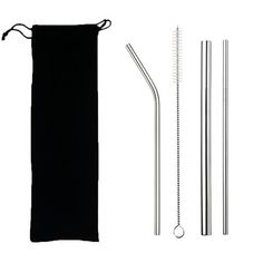 Eco Friendly Reusable Straw 304 Stainless Steel Straw Metal Smoothies Drinking Straws Set with Brush & Bag Stainless Steel Straws, Stainless Steel Metal, Metal Straws, Fancy Houses, Flask Water Bottle, Plastic Material, Cloth Bags, Unique Colors, Bars For Home