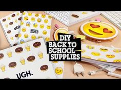 DIY | Emoji Back To School Supplies - Notebooks, Pencil Holder & Bookmark - YouTube