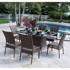 Have to have it. Hospitality Rattan Grenada 7 Piece Rectangle Patio Dining Set - Viro Fiber Antique Brown with Tempered Glass - Seats 6 - $2192 @hayneedle