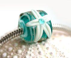 Ocean teal European charm bead lampwork large hole by MayaHoney