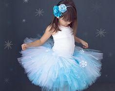 Tutu Skirt - Frozen Blue and White With Snowflakes
