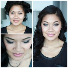 Before and after.  Smoky eyes on asian lids