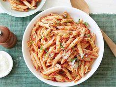 Penne with Sun-Dried Tomato Pesto recipe from Giada De Laurentiis via Food Network.  Zippy, yet creamy=YUM!