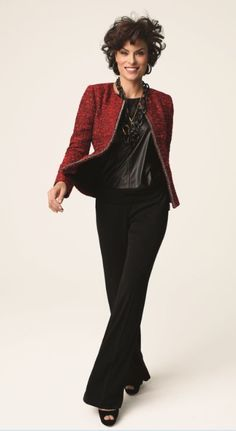 Great Christmas outfit! Tweed + Leather = Fabulous! #Fall #Lookbook #chicos