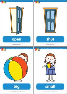 "Practice opposites and other simple, fun vocabulary from our super simple version of ""Open Shut Them"" with these flashcards. Learning English For Kids, English Worksheets For Kids, English Lessons For Kids, Kids English, English Activities, Preschool Learning Activities, Free Preschool, Preschool Printables, Preschool Worksheets"