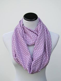 Purple scarf Orchid polka dot scarf infinity scarf purple