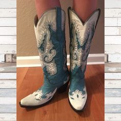 Corral Boots Turquoise - Used Really cute turquoise cowgirl boots worn to a wedding and a few other times. Open to any offers! Corral Shoes