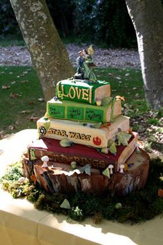 Stacked Books Wedding Cake