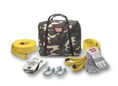"""WARN 62858 Medium Duty Winching Accessory Kit by Warn. $280.99. This WARN Medium Duty Winching Accessory Kit is designed for winches with pulling capacities up to 9,500 lbs. with 5/16"""" wire rope.  This kit includes the following:  3"""" x 30' standard recovery strap rated to 21,600 lbs., 2 Clevis/D-shackle 3/4"""" pin diameter, a snatch block with a 19,000 lb. maximum capacity and grease port, one 4"""" x 8' tree trunk protector, rated to 30,000 lbs. and one pair of WARN leather and..."""