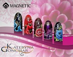 One Stroke en Magnetic Stamp Nail Art by Kateryna Gonchar!