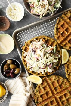 Falafel Waffles with a Mediterranean Slaw are easy to make and packed with so much flavor! Homemade falafel batter cooked in a waffle iron for added crunch! Savory Waffles, Pancakes And Waffles, Breakfast Waffles, Falafel Waffle, A Food, Food And Drink, Whole Food Recipes, Cooking Recipes, What's Cooking
