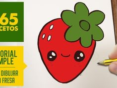 COMO DIBUJAR UNA FRESA KAWAII PASO A PASO - Dibujos kawaii faciles - How to draw a strawberry