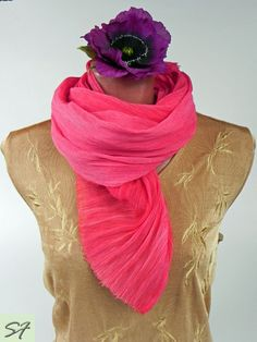 Silk Scarf Pink Magenta Chiffon Crinkled Silk Soft Pleated