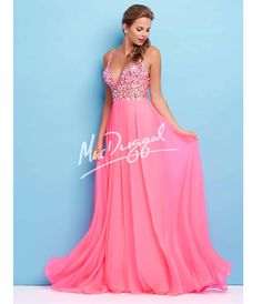 Mac Duggal Flash  Cutout Bodice Embellished Pink Gown Prom 2015 from Unique Vintage