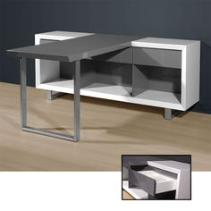 Media Office Writing Desk in High Gloss White/Grey, 4026-158