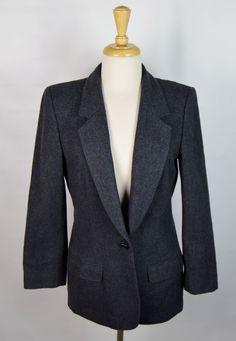 Miss Pendelton Dark Gray Wool One Button Lined Blazer #MissPendelton #Blazer