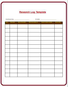 A Research Log Template Is An Extensive Document That Helps You To