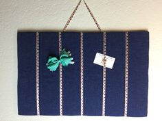 Blue Bow Organizer with Floral Straps by InspiradaPorJULIA on Etsy