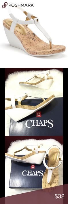 🆕 Chaps Raevyn Women's Slip-On Wedge Sandals Great summer Wedge Sandal by Chaps. Cork-patterned footbed. Open toe. Slip-on with elastic in back of strap. Man made Upper and lining. TPR sole. Brand new in box. Color white/gold accent stud. Size: 9 B Chaps Shoes Sandals