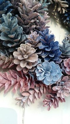 """Gorgeous Painted Pinecone Wreath by scarletsmile on Etsy wreath with blues, pale pinks, Grey and stone colors."""", """"Gorgeous Painted Pinecone Wreath b Pine Cone Art, Pine Cone Crafts, Wreath Crafts, Crafts To Do, Christmas Projects, Pine Cones, Fall Crafts, Holiday Crafts, Christmas Wreaths"""