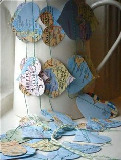 Things you can make with old maps. DIY ideas for old maps. Creative ways to use old maps in crafts and art. Diy And Crafts, Arts And Crafts, Crafts With Maps, World Map Crafts, Room Crafts, Art Crafts, Prayer Stations, Travel Scrapbook Pages, Heart Map