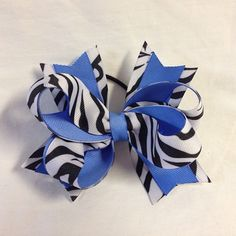 #bjsbowbows #hairbow #bow #zebra #blackandblue #handmade