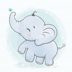 Cute Baby Elephant Play With Butterfly Water Color Cartoon Hand Drawn Baby Elephant Drawing, Cute Baby Elephant, Elephant Art, Baby Elephants, Indian Elephant, Animal Drawings, Cute Drawings, Scrapbooking Image, Dibujos Baby Shower