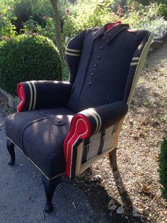 Original Soviet 'Cold War' Overcoat Wrapped Deconstructed Chair with Kalashnikov…