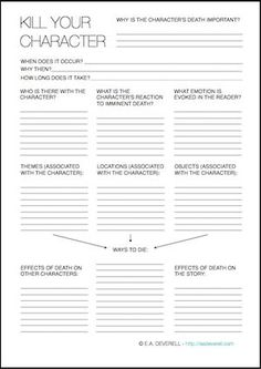 All writers become murderous sooner or later, but it's important to kill your character in the right way, at the right time and for the right reason.I hope this worksheet will help you premeditate the perfect coup de grâce. Writing Worksheet – How to Kill a Character (PDF)