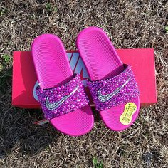 Check out this item in my Etsy shop https://www.etsy.com/listing/581212524/pink-nike-bling-slides-girls-bedazzled