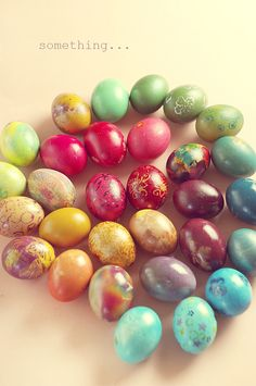 easter eggs -- this is not a DIY, but if you click on the link that goes with the picture there are many more images that inspire you toward decorating eggs and decorating with eggs.