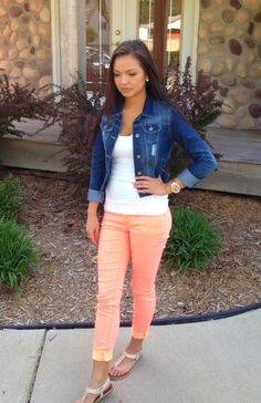 Neon coral pants and jean jacket with a rose gold watch <3