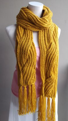 hand knitted yellow winter scarf-in Scarves from Apparel  Accessories on Aliexpress.com $8.60