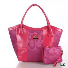 Coach Logo Monogram LZ707 Two-Piece Shoulder Bag In Rose