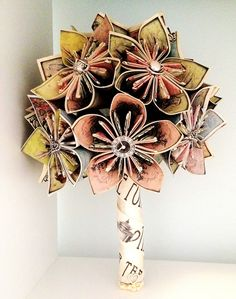Alice In Wonderland Origami Bouquet. $70.00, via Etsy.