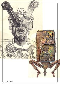 Character Inspiration, Character Art, Character Design, Creepy Sketches, Sketchbook Inspiration, Sketchbook Ideas, Cyberpunk Art, Science Fiction Art, Illustration