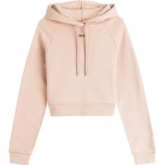 Off-White Cropped Cotton Hoody (1.140 BRL) ❤ liked on Polyvore featuring tops, hoodies, sweaters, sweatshirt, crop top, beige, hooded pullover, cotton hooded sweatshirt, oversized hoodie and cotton hoodie