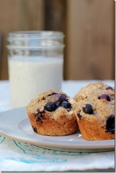 Blueberry Banana Whole Wheat Muffins