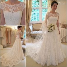 New Arrival Glamorous Full High Quality Lace Appliqued Bateau Neck Cap Sleeves A-line Wedding Dresses Bridal Gowns WD09