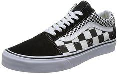 99f1e909f4 Vans Unisex Old Skool Skate Shoes Checkers Black True White 11 B(M