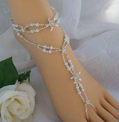 Starfish Foot Jewelry Wedding Starfish Barefoot Sandal & Anklet Set. $42.00, via Etsy.