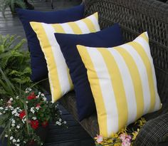 """SET OF 4  - 20"""" Yellow and White Stripe & Solid Dark Blue / Navy Indoor / Outdoor Decorative Throw Pillows"""
