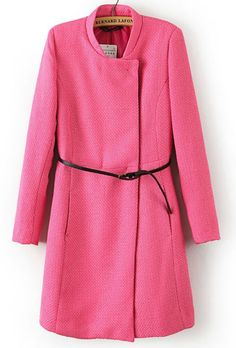 Chaqueta collar con cinto manga larga-Rosa EUR€29.26