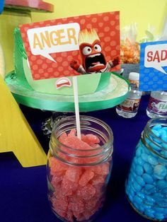 Anger candy at an Inside Out birthday party! See more party ideas at CatchMyParty.com!
