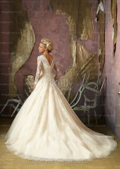 Empire V-neck Belt Tulle Sweep Train Wedding Dress at Millybridal.com    OMG IN LOVE WITH THIS ONE!!!
