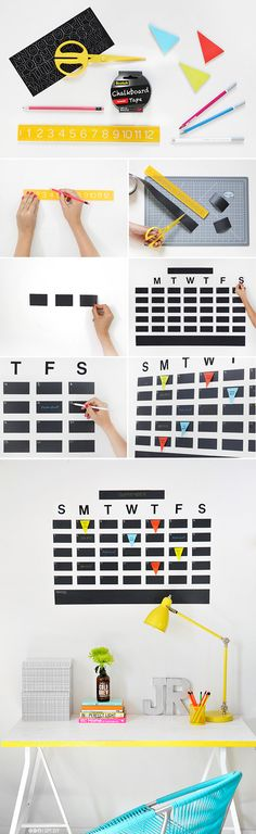 DIY chalkboard tape wall calendar.